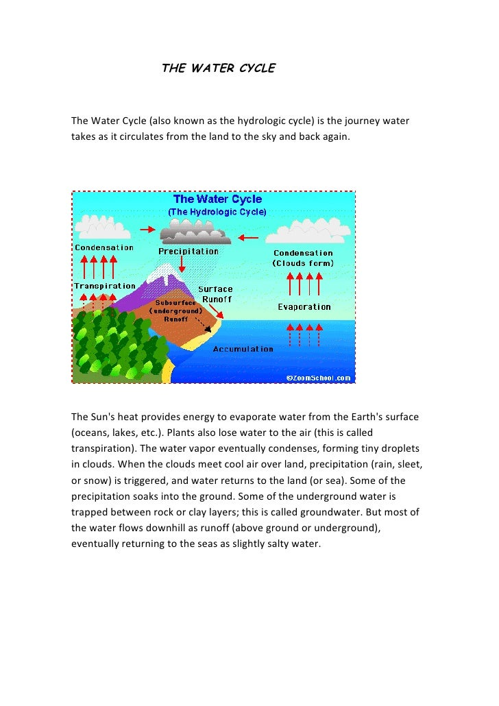 THE WATER CYCLE    The Water Cycle (also known as the hydrologic cycle) is the journey water takes as it circulates from t...