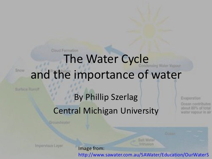 The Water Cycleand the importance of water<br />By Phillip Szerlag<br />Central Michigan University<br />Image from: http:...
