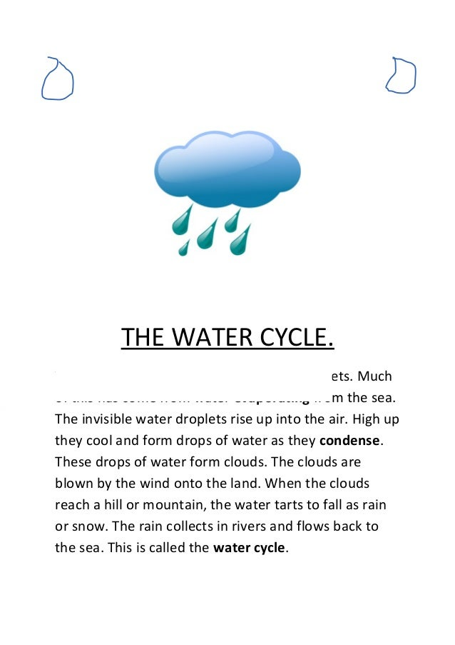 short essay about water cycle The hydrological cycle denotes unending movement of water from the oceans to the atmosphere, from atmosphere to land, and from land back to the oceans all these.