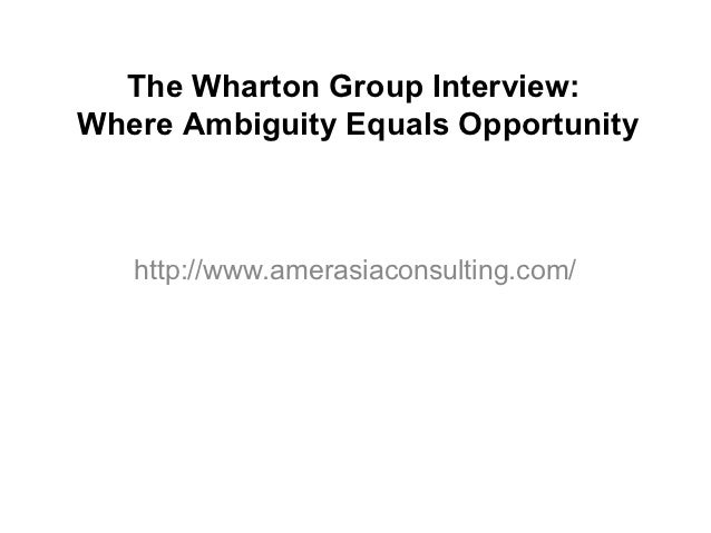 The Wharton Group Interview:Where Ambiguity Equals Opportunity   http://www.amerasiaconsulting.com/