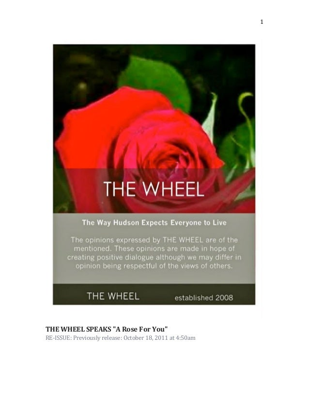 """THE WHEEL SPEAKS """"A Rose For You"""" RE-ISSUE: Previously release: October 18, 2011"""
