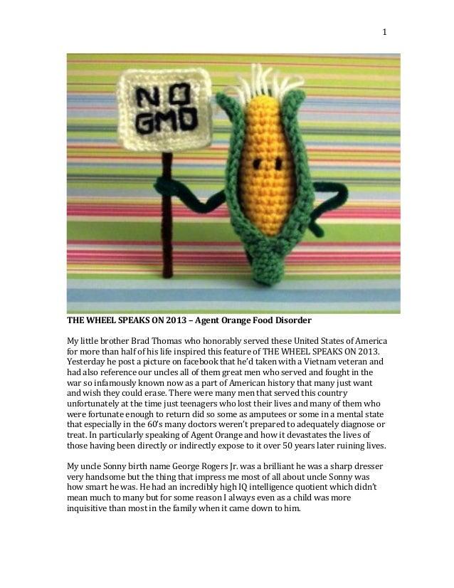 1      THE  WHEEL  SPEAKS  ON  2013  –  Agent  Orange  Food  Disorder      My  little  bro...