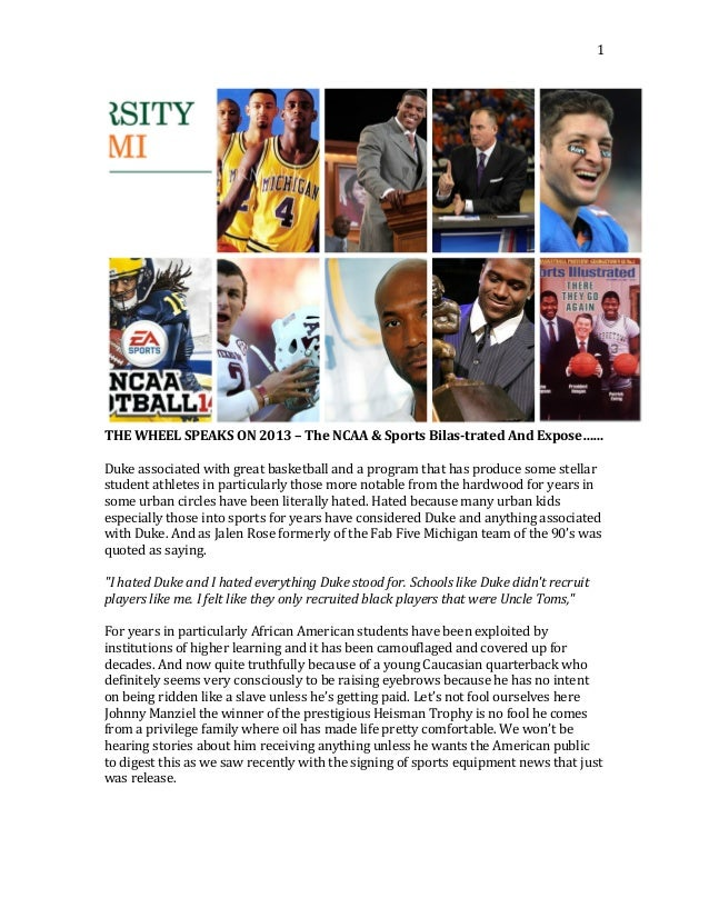 THE WHEEL SPEAKS ON 2013 – The NCAA & Sports Bilas-trated And Expose……
