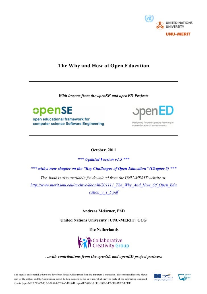 The Why and How of Open Education v.1.5