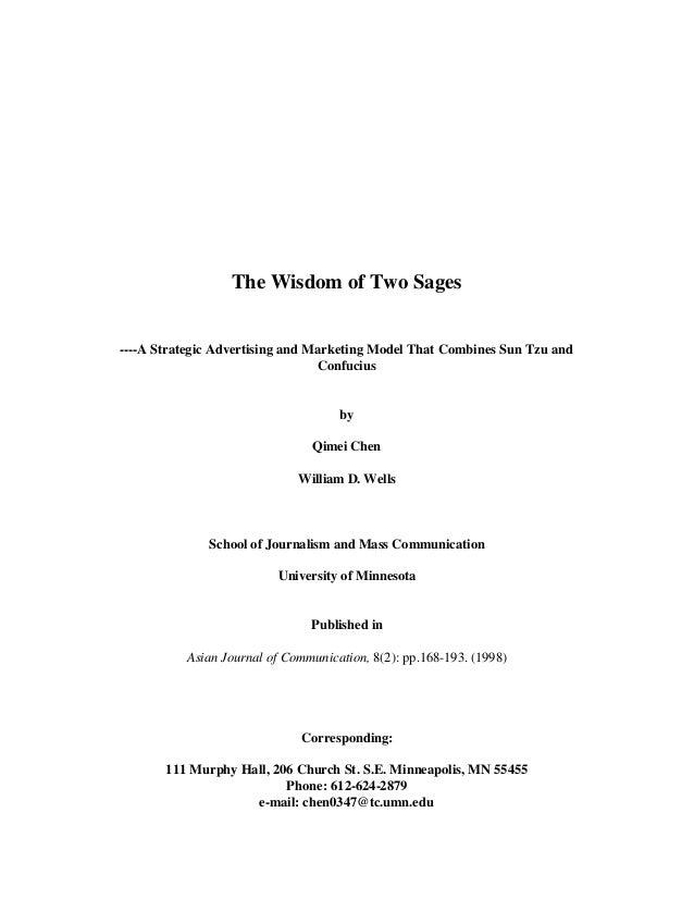 The Wisdom of Two Sages----A Strategic Advertising and Marketing Model That Combines Sun Tzu andConfuciusbyQimei ChenWilli...