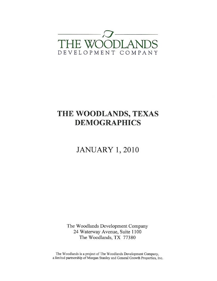 The Woodlands, Texas Demographics 2010