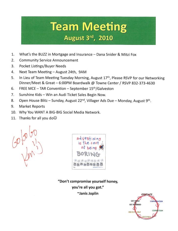 Real Estate Sales Meeting Agenda Prudential Gary Greene