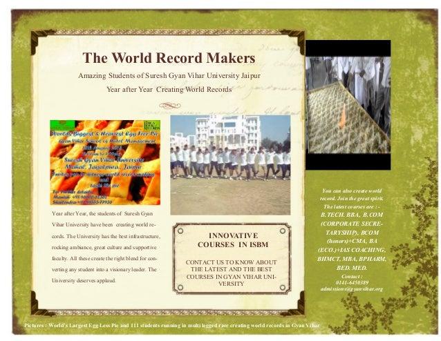 The World Record Makers Amazing Students of Suresh Gyan Vihar University Jaipur Year after Year Creating World Records Yea...
