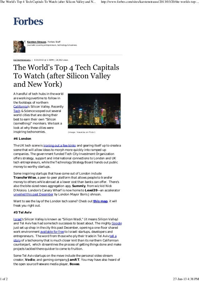 The world's top 4 tech capitals to watch (after silicon valley and new york)   forbes