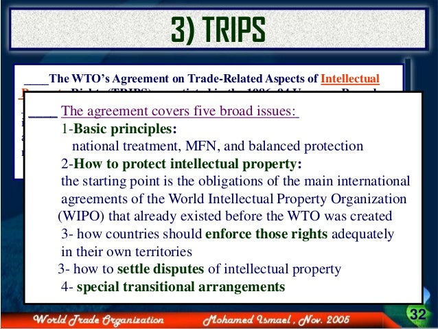 role of wto in protecting ipr Intellectual property rights and innovation in developing there was no specific agreement on intellectual property rights india became a member of the wto.