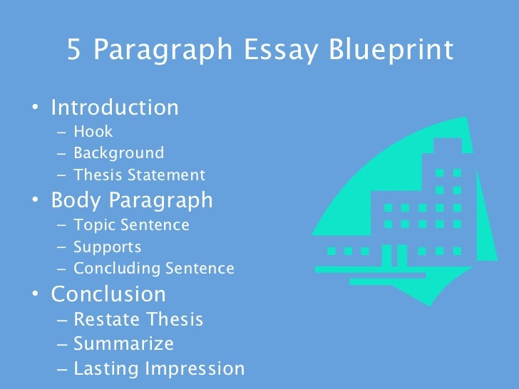5 paragraph essay blueprint Organizing a five-paragraph essay just as a topic sentence is the main focus of a single paragraph, five-paragraph essays are centered around a thesis statement (or.