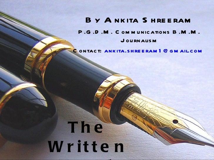 Ankita Shreeram - Writing Portfolio
