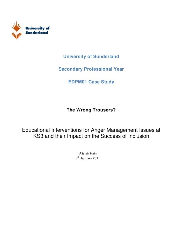 University of Sunderland              Secondary Professional Year                  EDPM01 Case Study                  The ...