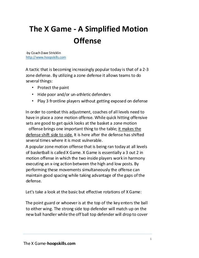 1 The X Game-hoopskills.com The X Game - A Simplified Motion Offense -by Coach Dave Stricklin http://www.hoopskills.com A ...