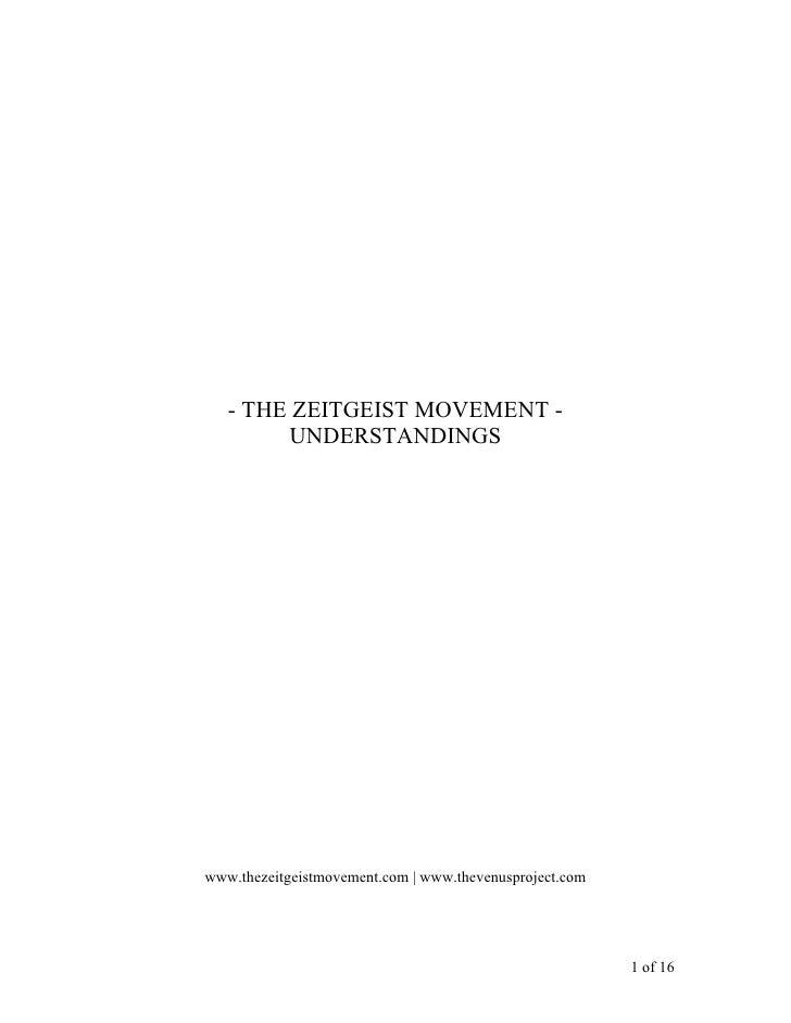 The Zeitgeist Movement Understandings