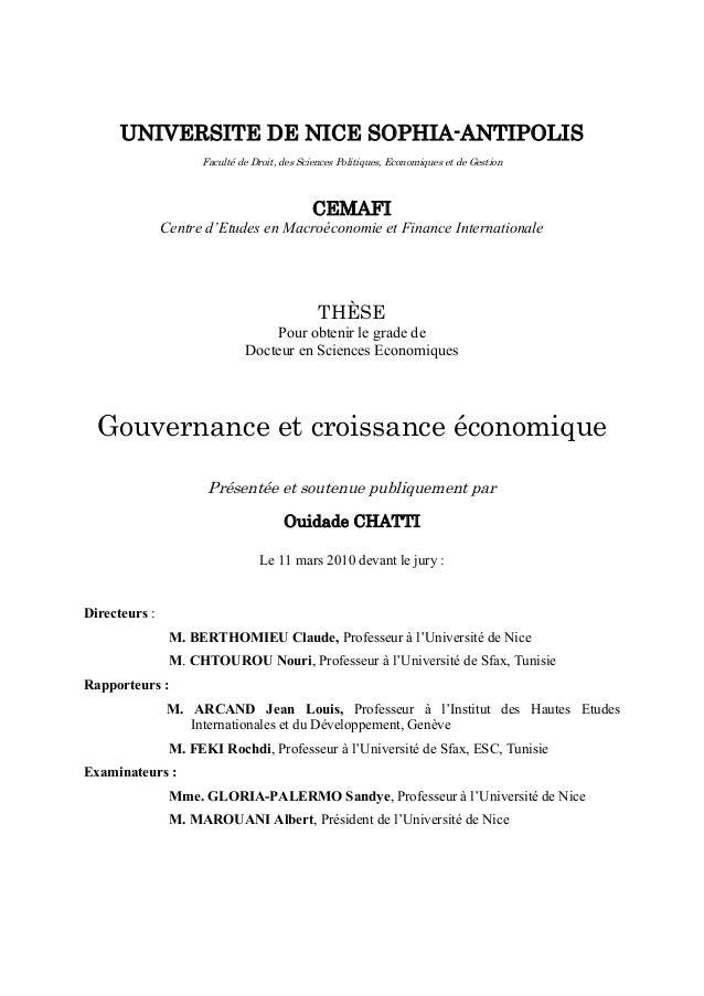 UNIVERSITE DE NICE SOPHIA-ANTIPOLIS Faculté de Droit, des Sciences Politiques, Economiques et de Gestion CEMAFI Centre d'E...