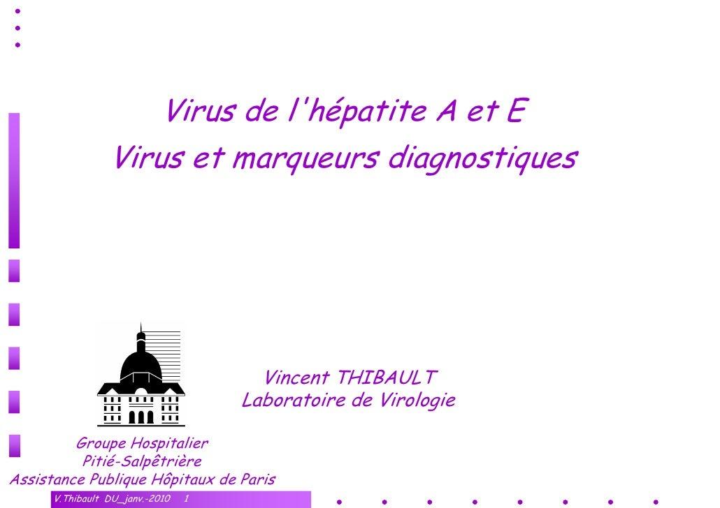 Virus de l'hépatite A et E                  Virus et marqueurs diagnostiques                                            Vi...