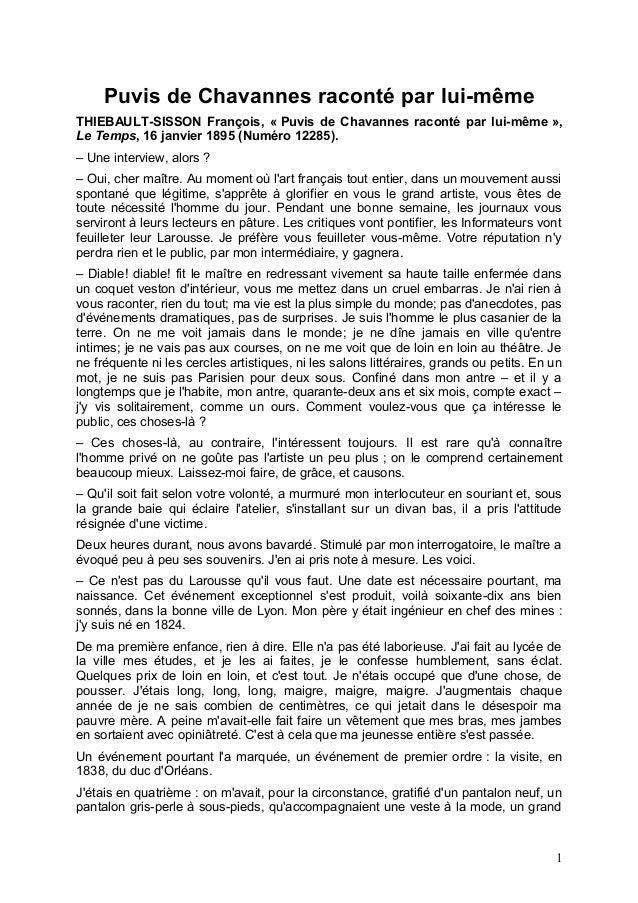 Puvis de Chavannes raconté par lui-même THIEBAULT-SISSON François, « Puvis de Chavannes raconté par lui-même », Le Temps, ...