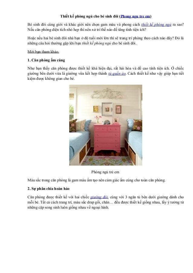 Thiết kế phòng ngủ cho bé sinh đôi