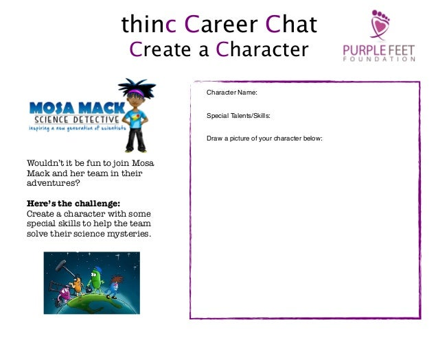 thinc Career Chat Create a Character Character Name: Special Talents/Skills: Draw a picture of your character below:  Woul...