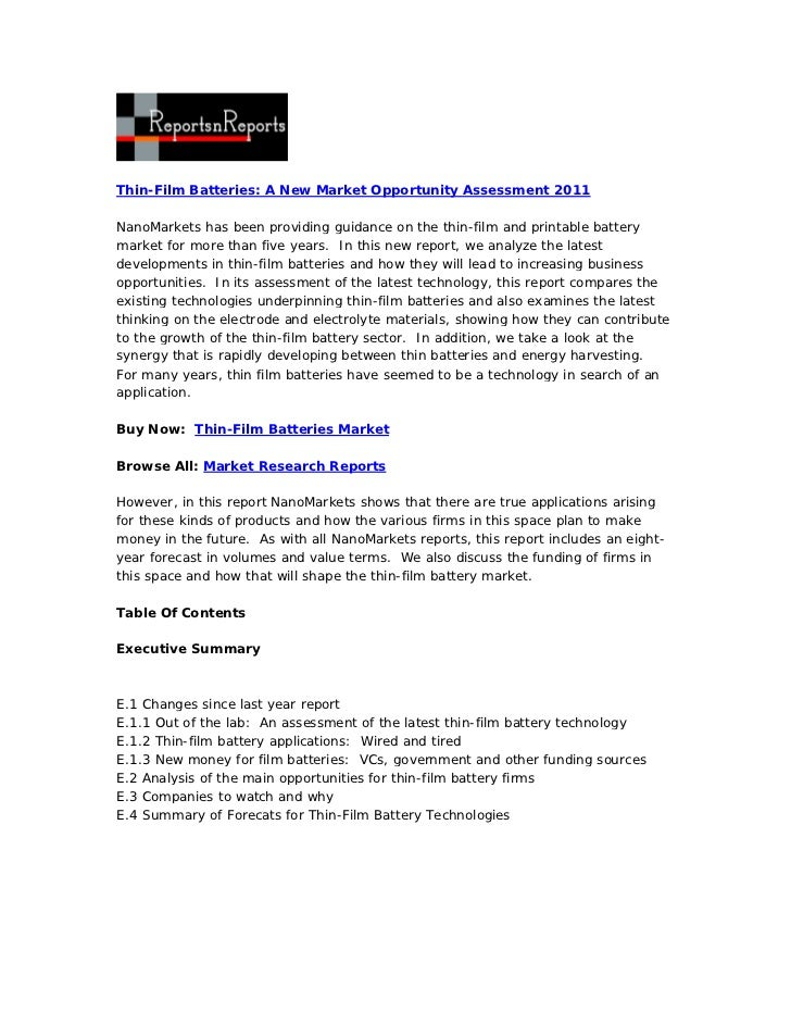 Thin film batteries  a new market opportunity assessment 2011