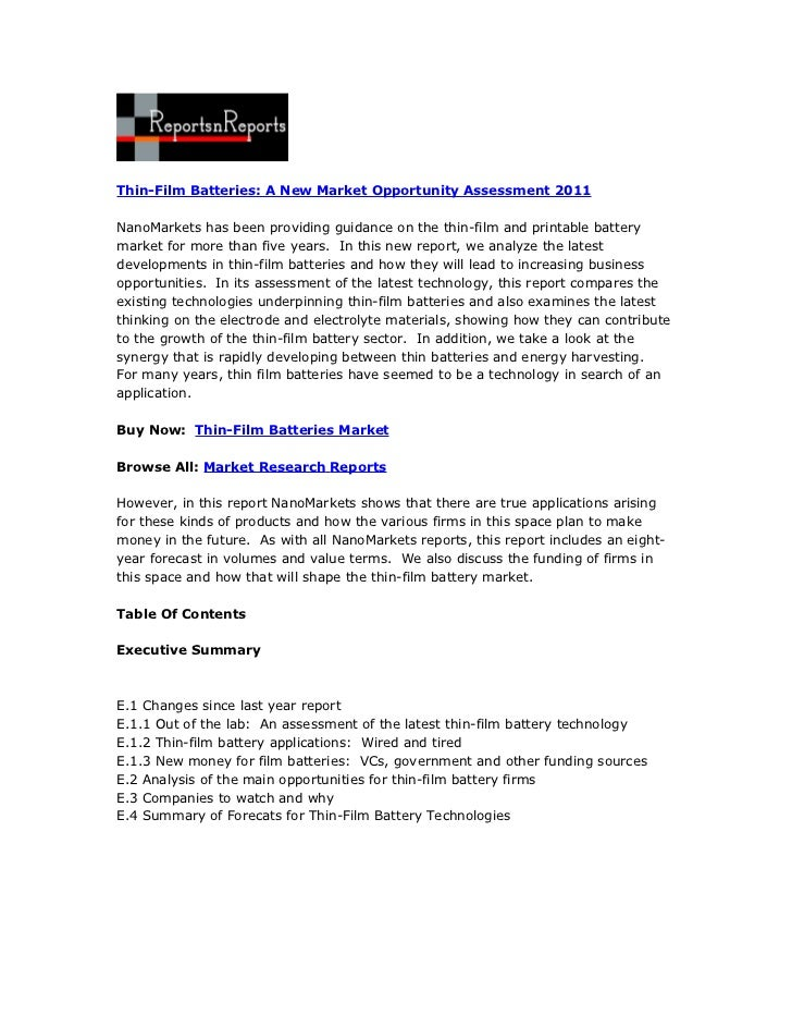 Thin-Film Batteries: A New Market Opportunity Assessment 2011