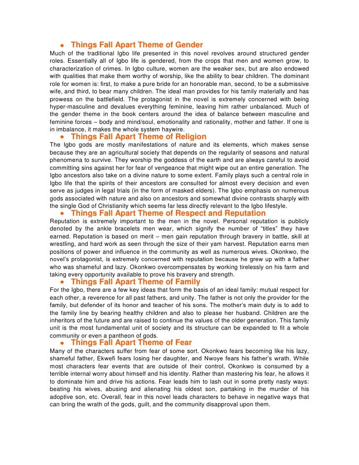 things fall apart role and treatment of women essay
