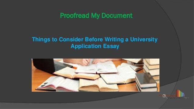 Essay to a university