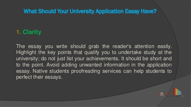Essay to a university