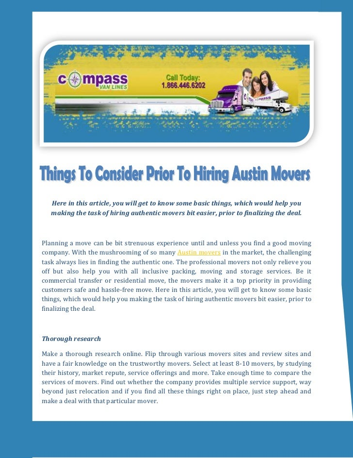 Things To Consider Prior To Hiring Austin Movers
