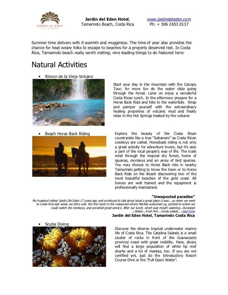 Jardin del Eden Hotel,                             www.jardindeleden.com                                      Tamarindo Be...