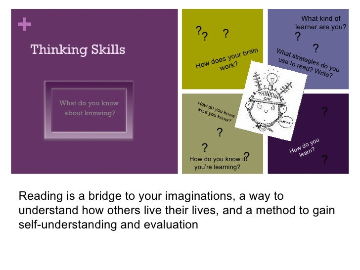 Thinking Skills What do you know  about knowing? Reading is a bridge to your imaginations, a way to understand how others ...