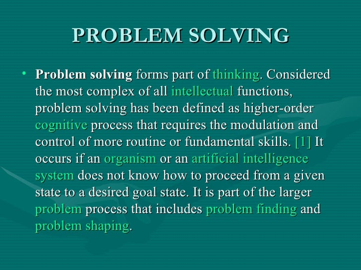Psychology problem solving activities