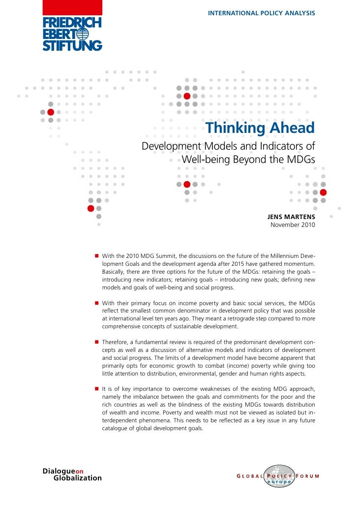 Thinking Ahead - Development Models and Indicators of Well-being Beyond the MDGs‏
