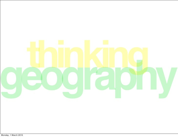 Thinking Geography
