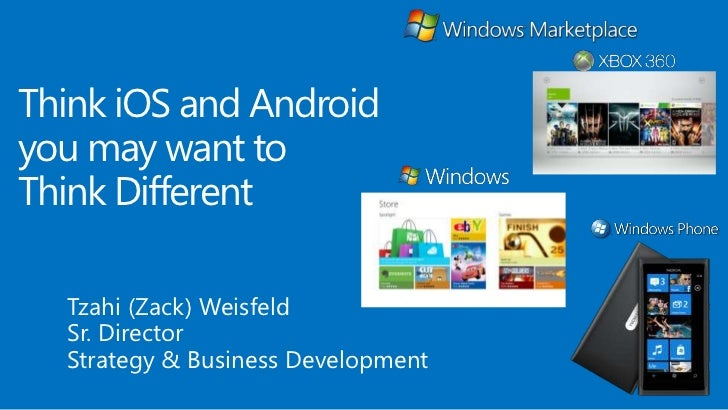 Think iOS and Androidyou may want toThink Different  Tzahi (Zack) Weisfeld  Sr. Director  Strategy & Business Development