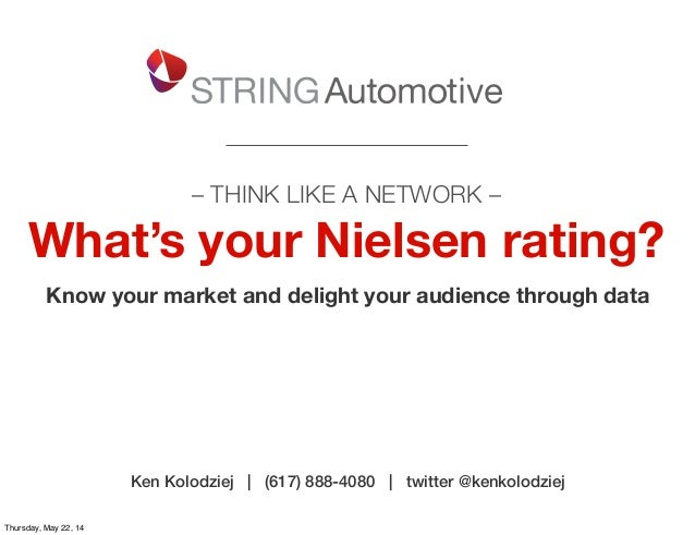 – THINK LIKE A NETWORK – What's your Nielsen rating? Know your market and delight your audience through data Ken Kolodziej...