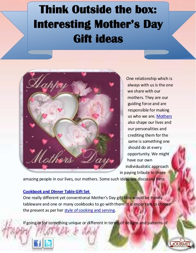 Think outside the box interesting mother's day gift ideas