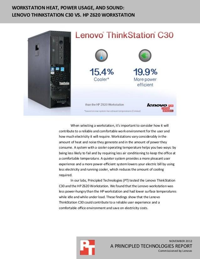 Workstation heat, power usage, and sound: Lenovo ThinkStation C30 vs. HP Z620 Workstation