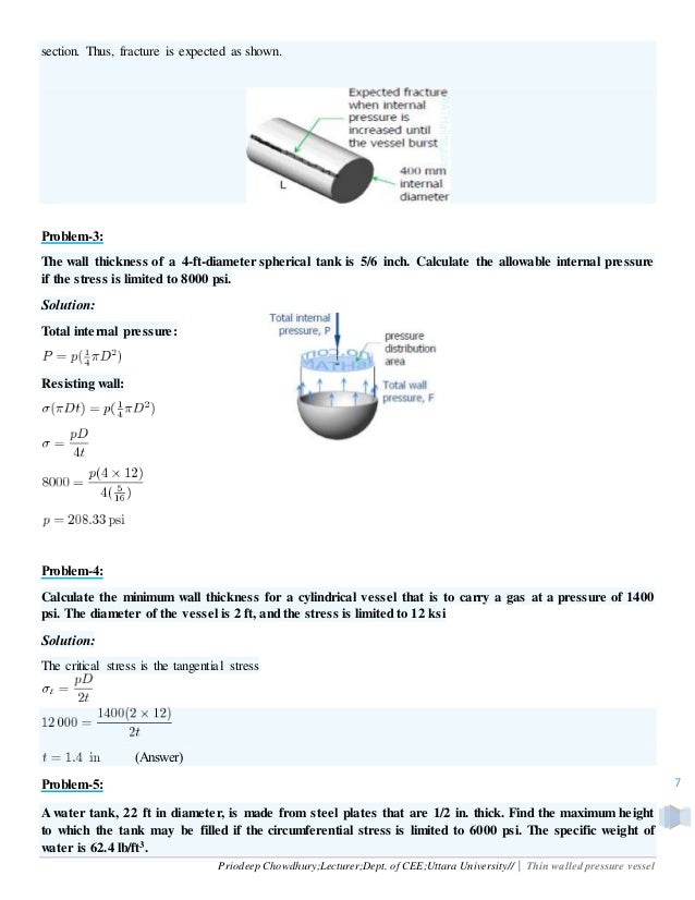 Solid Mechanics: Thin walled pressure vessel
