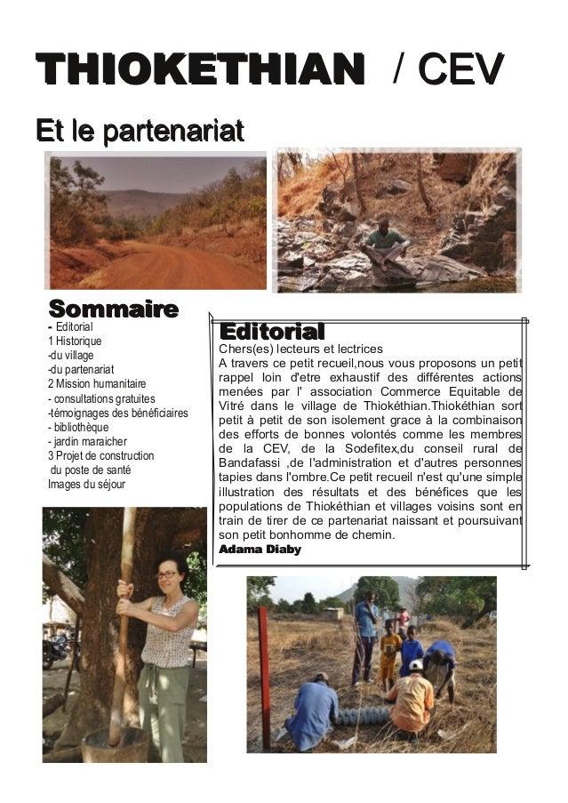 TTHHIIOOKKEETTHHIIAANN / CCEEVV EEtt llee ppaarrtteennaarriiaatt SSoommmmaaiirree  Editorial 1 Historique du village du...