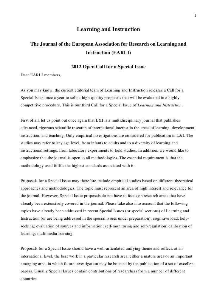 Learning and Instruction - Open Call for a Special Issue 2012