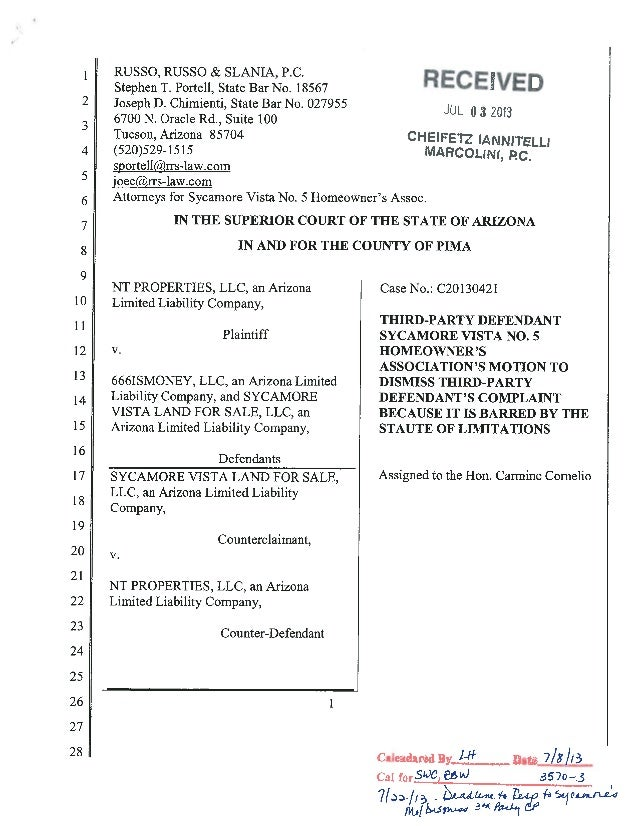 HOA's Motion to Dismiss (Barred by Statutes of Limitations)