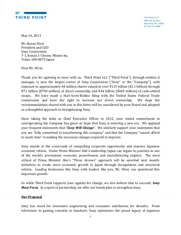 Third point sony letter