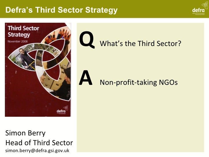 Defra's Third Sector Strategy <ul><li>Q What's the Third Sector? </li></ul><ul><li>A Non-profit-taking NGOs </li></ul>Simo...