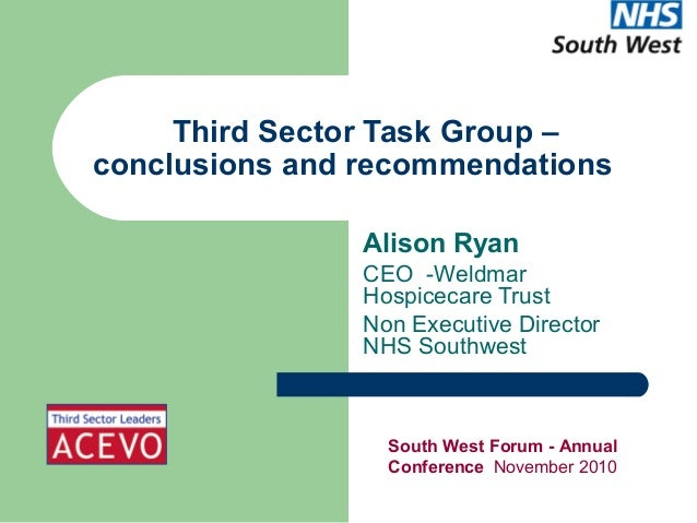 Third sector task group conclusions and recommendations   alison ryan