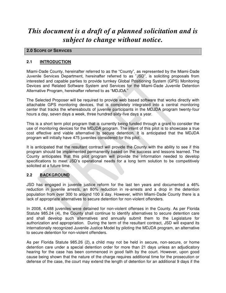 This document is a draft of a planned solicitation and is subject to change without notice.<br />2.0 Scope of Services<br ...