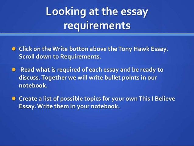 i believe essay examples