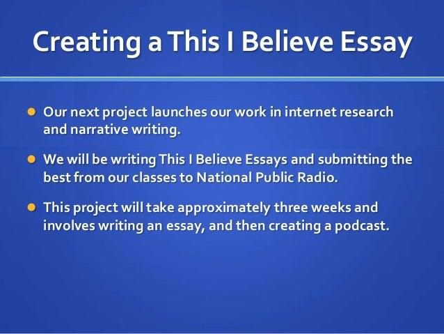 This I Believe Essay Examples