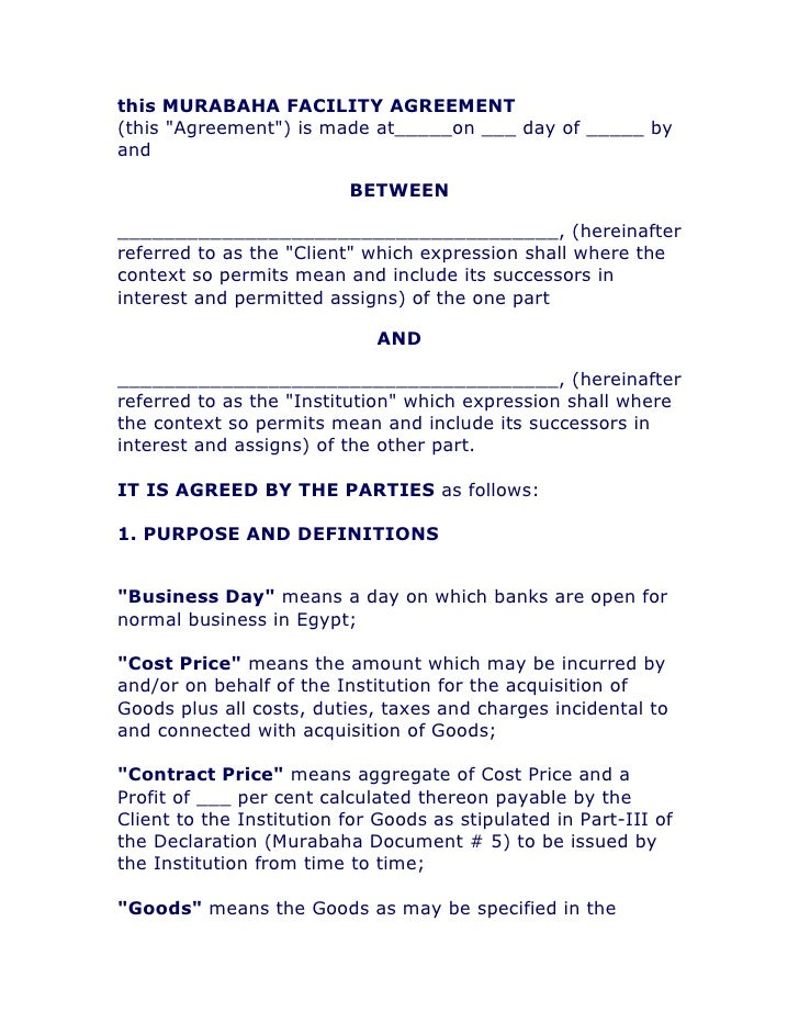 This Murabaha Facility Agreement